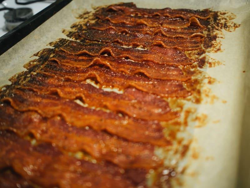 Suesser Doerrspeck aus dem Ofen nach einer Stunde